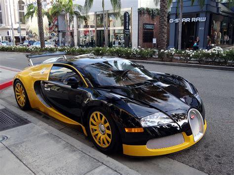 custom bugatti custom yellow black bugatti veyron spotted in beverly