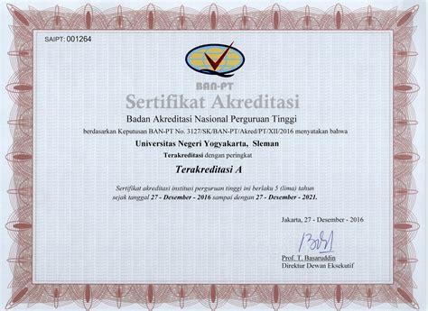 Surat Keterangan Akreditasi Dari Ban Pt Udinus by Produk Hukum Dan Peraturan Baki Uny