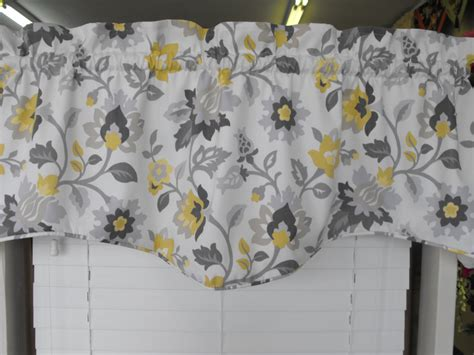 gray valance curtains yellow and gray floral window curtain valance treatment