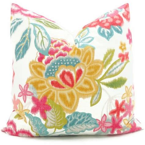 Bright Colored Pillows Brightly Colored Pink Turquoise Gold Floral Decorative