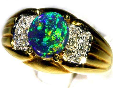 Black Opal Jarong Big Size 2 black opal ring size 7 5 18 k gold ck 263