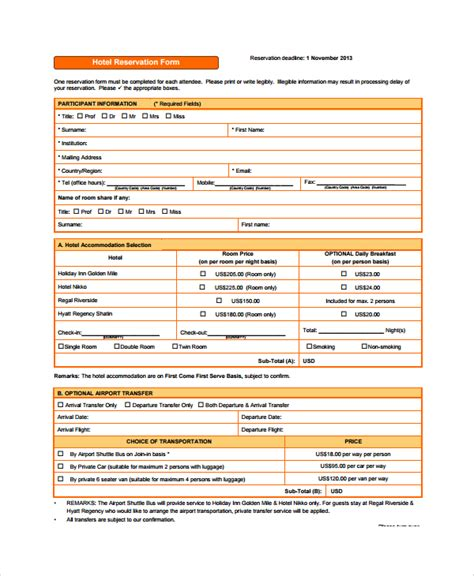 Credit Facility Form Hotel Sle Reservation Form 9 Documents In Pdf