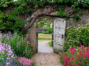 secret garden an wooden door leads into a garden