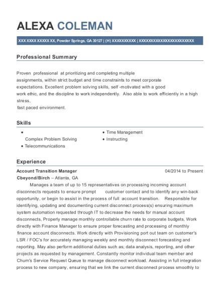 Transition Resume by Best Account Transition Manager Resumes Resumehelp