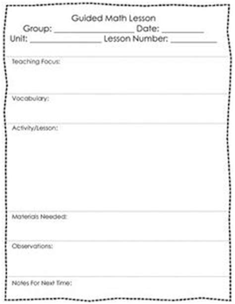 Lesson Plan Template Math Workshop Math Workshop And Guided On Pinterestwriting Lesson Plans Math Workshop Lesson Plan Template