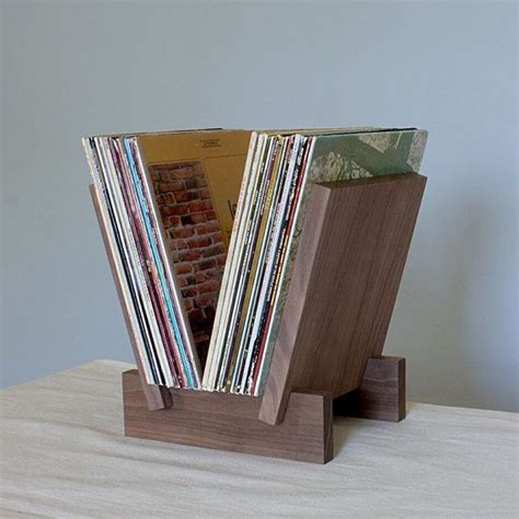 lp record stand  solid walnut record stand vinyl