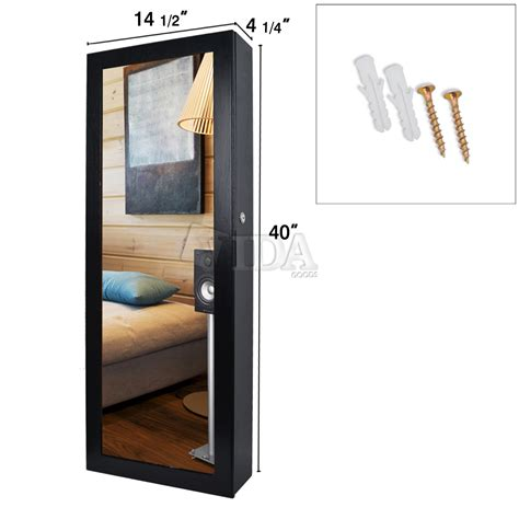 Jewelry Wall Mount Armoire by 40 Quot Black Mirrored Wall Mount Jewelry Cabinet Armoire Organizer Storage Ebay