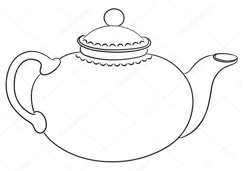 teapot outline colouring pages