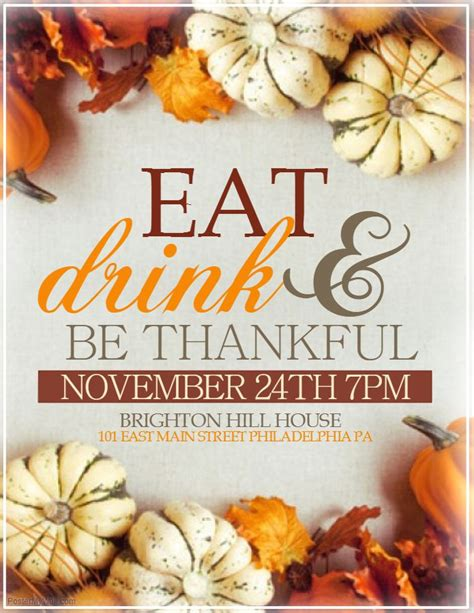 Diy Thanksgiving Dinner Flyer Template Thanksgiving Poster Templates Pinterest Dinner Flyer Template