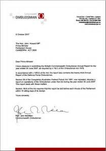 Transmittal Letter In A Transmittal Letter Commonwealth Ombudsman Annual Report 2006 07 Commonwealth Ombudsman