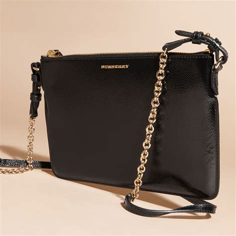 Burberry Patent Ashcombe Clutch Handbag by Burberry Patent Leather Clutch Bag Black In Black
