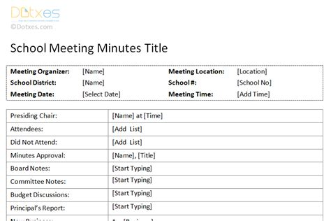 Meeting Minutes Template Free Printable Formats For Word School Board Meeting Minutes Template
