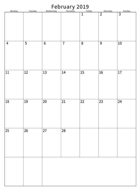 printable blank calendar february task