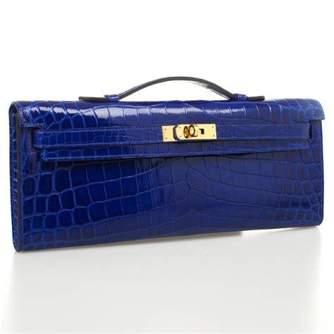 Clutch Hermes Kellycut 9012 hermes bleu electrique niloticus crocodile cut clutch front inside the closet