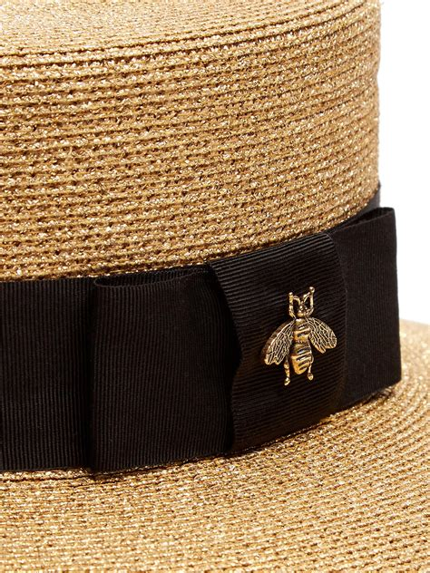 gucci straw boater hat  metallic lyst