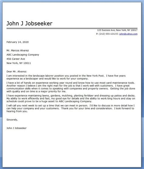 landscape cover letter sle career life pinterest