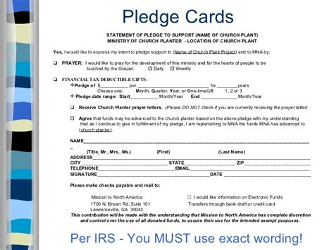 pledge card fundrasiing template church planting fundraising seminar presentation