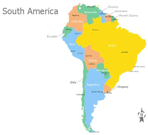 south america map and capitals continents map