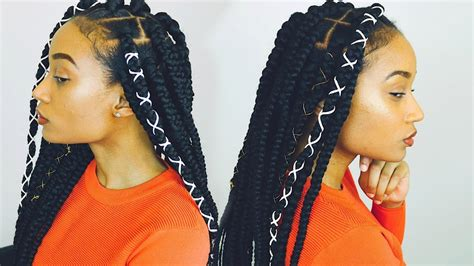 hair braid maid with rubberbands and the hair looks springy how to rubber band method box braid tutorial tanieya