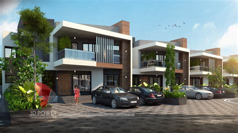 modern 3d township rendering and elevation 3d power