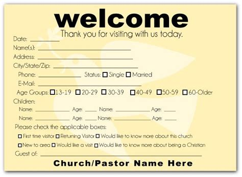 church visitor card template idea for visitor info card church