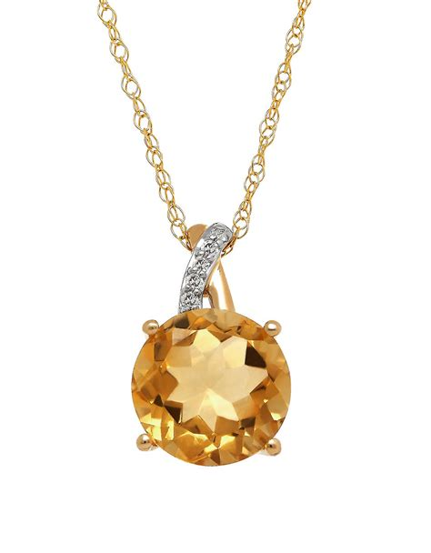 lord citrine and 14k yellow gold pendant