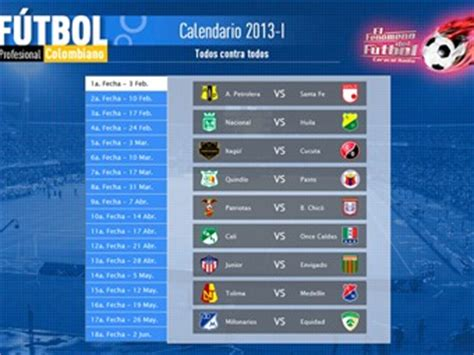 Calendario Futbol Colombiano Calendario F 250 Tbol Profesional Colombiano 2013 I