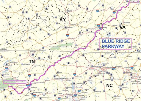 map of blue ridge parkway map great smoky mountains national park amd blue ridge