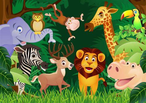 dibujos infantiles con animales flores y plantas en vectores de la selva animales plantas y m 225 s