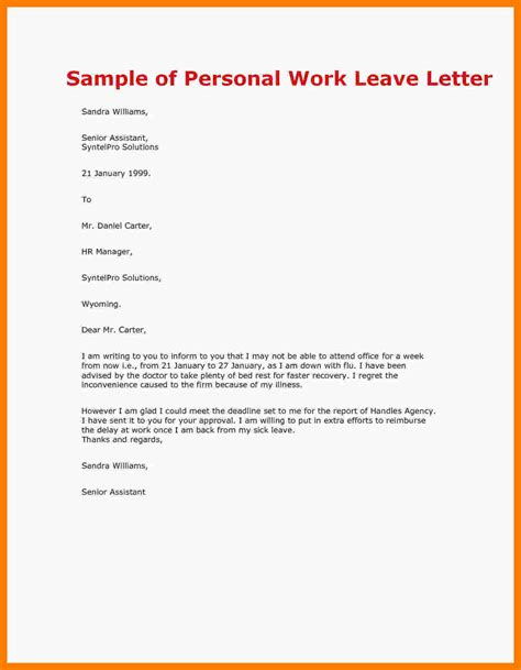 Leave Of Absence Letter Sle For 10 How To Write Annual Leave Letter Daily Task Tracker