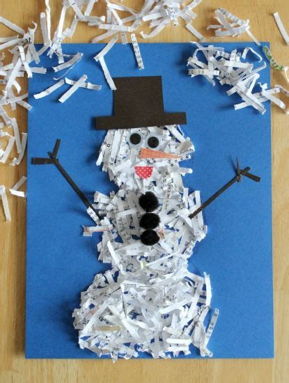 Paper Winter Crafts - crafting winter animals that quot shred quot snowman shredded