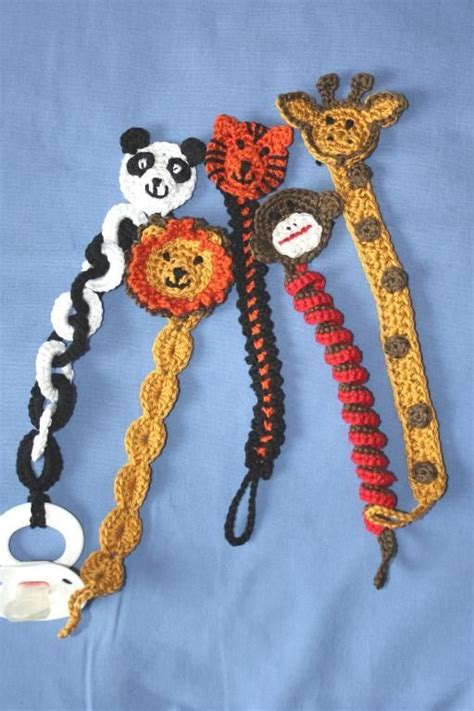 Animal Pattern Baby Name 4 name crocheting zoo animal soother pacifier clip