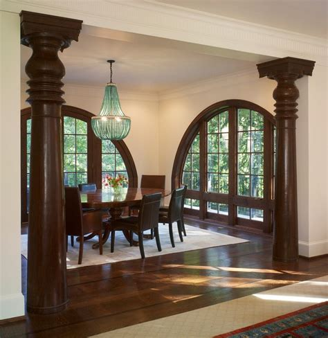 queen anne dining room  columns arched windows