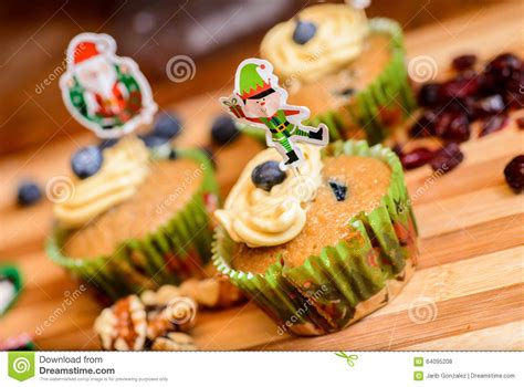 vegan christmas cupcake stock photo image 64095208