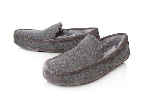 uggs ascot mens slippers ugg ascot wool slippers in gray for lyst