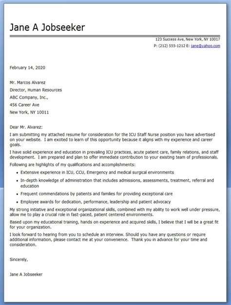 Cover Letter For A Nursing experienced cover letter resume downloads