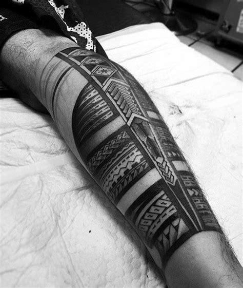 repeating pattern tattoo 40 polynesian leg tattoo designs for men manly tribal ideas