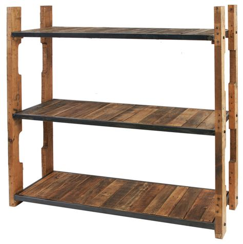 eco friendly furniture 3 tier wood and iron shelf