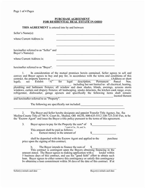 Unique Free Printable Real Estate Purchase Agreement Downloadtarget Land Contract Template Ohio