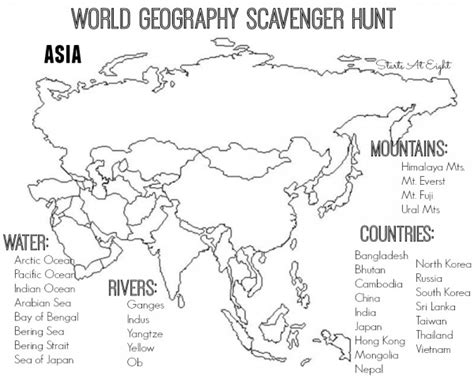 printable world map asia world geography scavenger hunt asia free printable