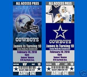 Dallas Cowboys Birthday Invitations 20 Tickets Ebay Dallas Cowboys Invitation Template