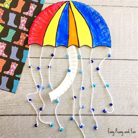 How To Make Umbrella With Paper Plate - umbrella paper plate craft weather crafts for