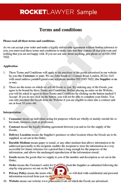 purchase order terms and conditions template uk terms conditions for sale of goods to consumers via a