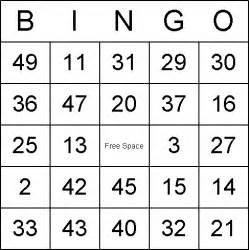 numbered bingo cards