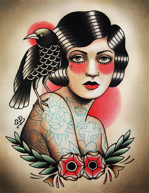 traditional woman tattoo flapper and print tattooed the