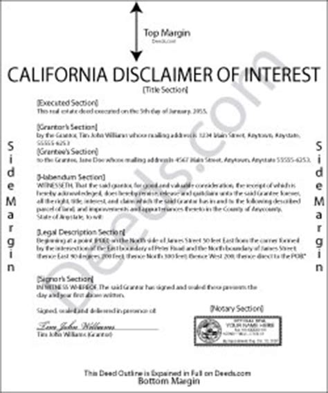 Brit Does A Deed by California Disclaimer Of Interest Forms Deeds