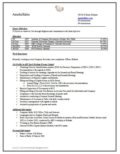 secretarial resume template 10000 cv and resume sles with free