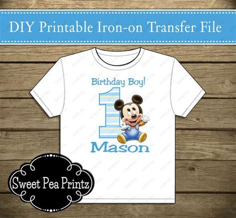 free printable iron on transfers for babies printable baby mickey mouse 1st birthday iron on transfer