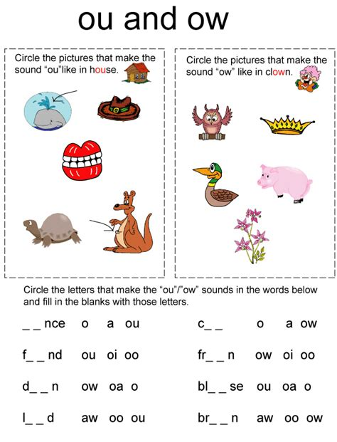 Ow Worksheets by Phonics Worksheets Www Justmommies