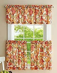 Fall Kitchen Curtains Autumn Leaves Valance And Curtain Set Home Kitchen